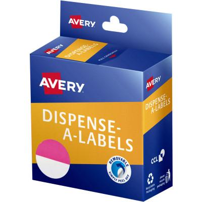 Avery Dispenser Label 24mm 1/2 Pink Dot Pack of 300