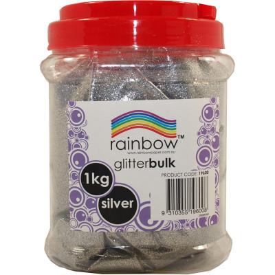 RAINBOW GLITTER BULK 1 KG JAR Silver