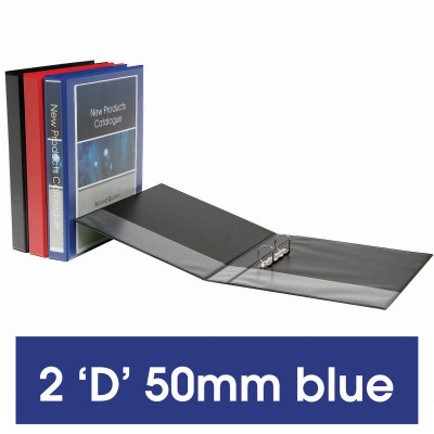 Marbig Clearview Insert Binder A4 2D Ring 50mm Blue