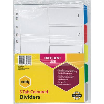 Marbig Plastic Divider A4 5 Tab Multi Colour