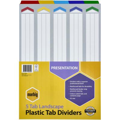 Marbig Plastic Divider A3 Reinforced 5 Tab Landscape Multi Colour