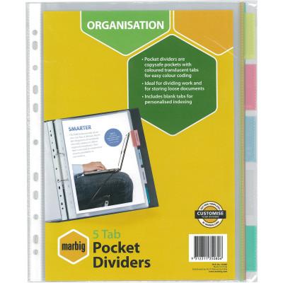 Marbig Plastic Divider A4 5 Tab Clear Pocket Multi Colour