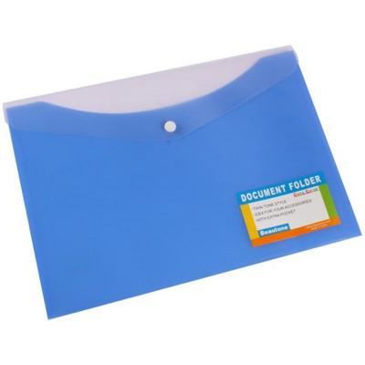 Bantex Document Folder A4 With Button Closure Tropical Blue Berry