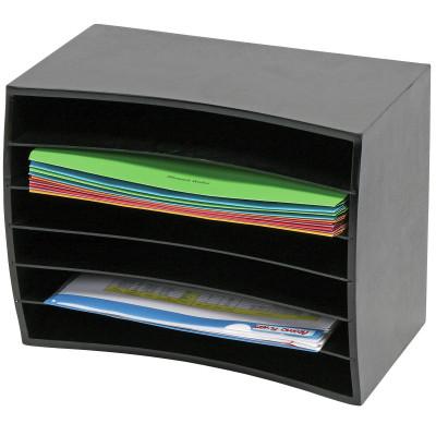 Marbig Desktop Organiser Wooden Horizontal 6 Tier L390Xd230Xh300Mm Black