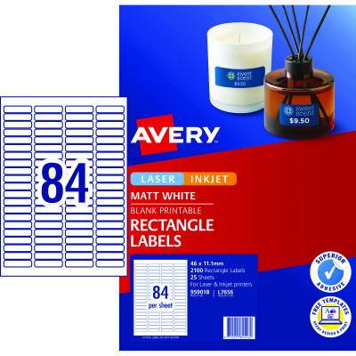 Avery Multi-Purpose Laser & Inkjet Labels L7656 46x11.11mm White 2100 Labels, 25 Sheets