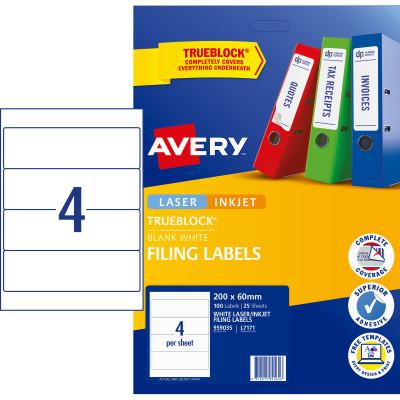 Avery Filing Laser & Inkjet Labels L7171 200x60mm 100 Labels, 25 Sheets