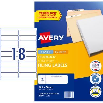 Avery Filing Laser & Inkjet Labels L7172 100x30mm 450 Labels, 25 Sheets