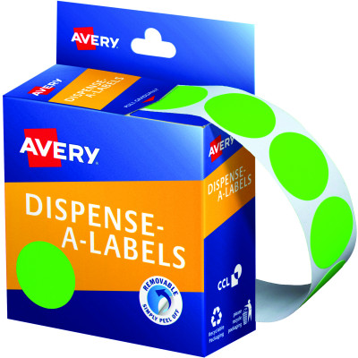 Avery Removable Dispenser Labels 24mm Round Fluoro Green Pack of 350