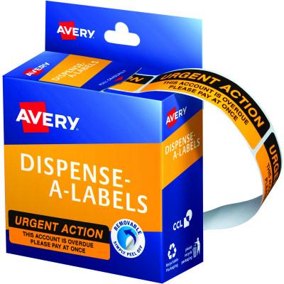 Avery Removable Dispenser Labels 19x64mm Urgent Action Orange Pack of 125