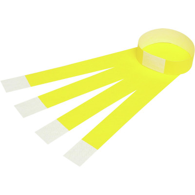 Rexel Wrist Bands With Serial Number Fluro Yellow Pack Of 100